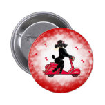 Black Poodle on a  Red Hearts 6 Cm Round Badge