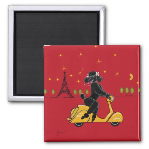 Black Poodle Paris Scooter Eiffel Tower Magnet