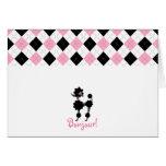 Black Poodle Pink & Black Argyle Notecard Greeting Cards