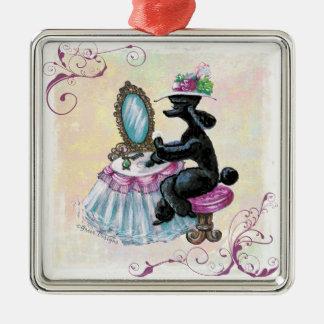 Black Poodle Retro Boudoir Christmas Ornament