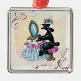 Black Poodle Retro Boudoir Silver-Colored Square Decoration