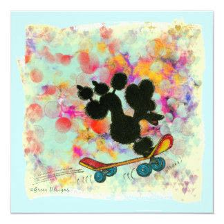 Black Poodle Skateboard Art Print 13 Cm X 13 Cm Square Invitation Card