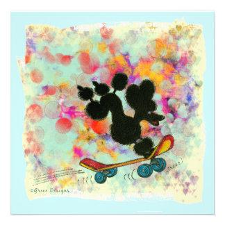 Black Poodle Skateboard Art Print Custom Announcement