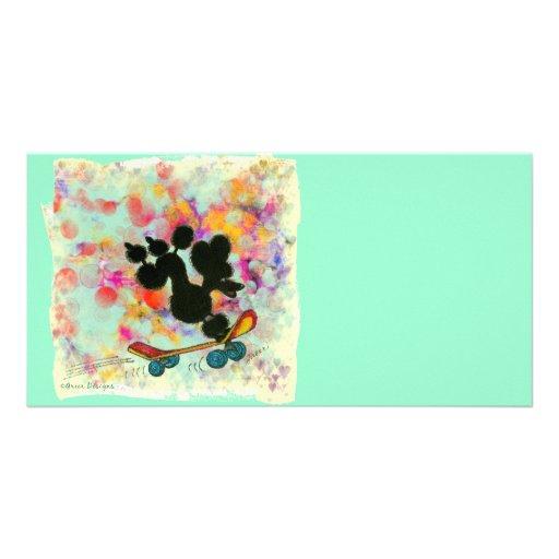 Black Poodle Skateboard Art Print Photo Greeting Card