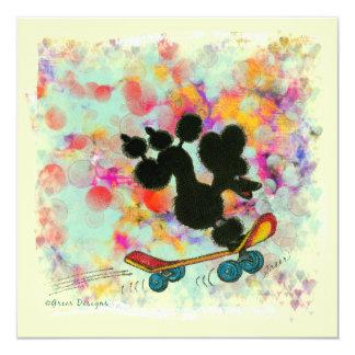 Black Poodle Skateboard Fun Print 13 Cm X 13 Cm Square Invitation Card