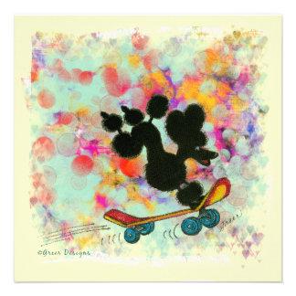 Black Poodle Skateboard Fun Print Custom Announcements
