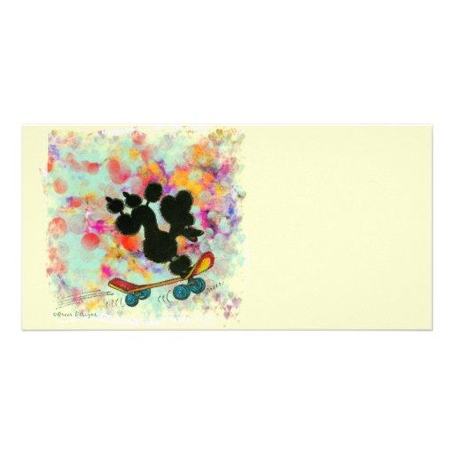 Black Poodle Skateboard Fun Print Photo Greeting Card