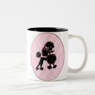 black poodle Two-Tone coffee mug