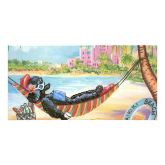 Black Poodle Vacation in Hawaii Photo Card Template