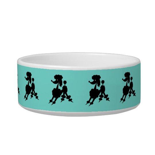 Black Poodles on Customisable Coloured Background Pet Bowls