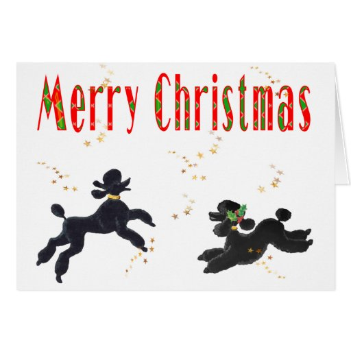 Black Poodles Playing Merry Christmas Art Cards
