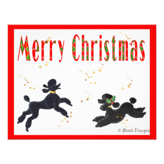 Black Poodles Playing Merry Christmas Invitation