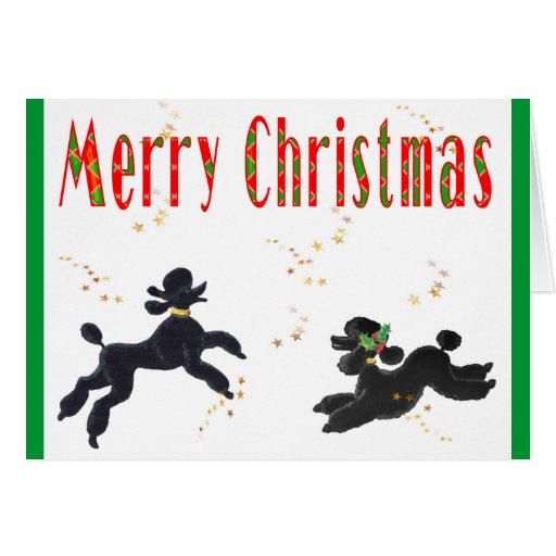 Black Poodles Playing Merry Christmas Note Cards