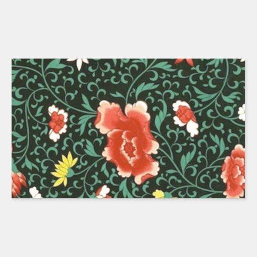 Black Poppies Ornate Art Rectangular Stickers
