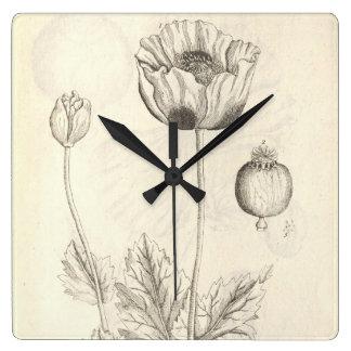 Black Poppy Wall Clocks