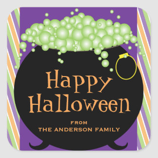 Black Pot of Green Soup Personalized Halloween Square Sticker