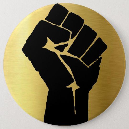 Black Power Fist & Gold Background 6 Cm Round Badge