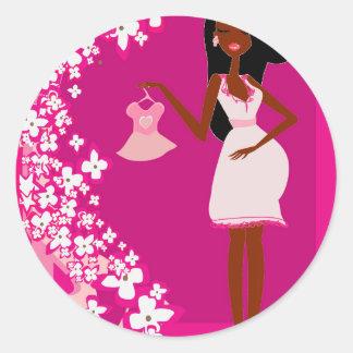 black pregnant woman round sticker
