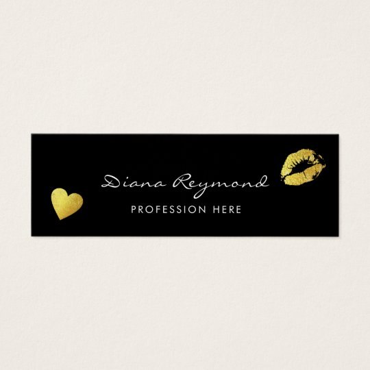 black professional profile card with heart & lips