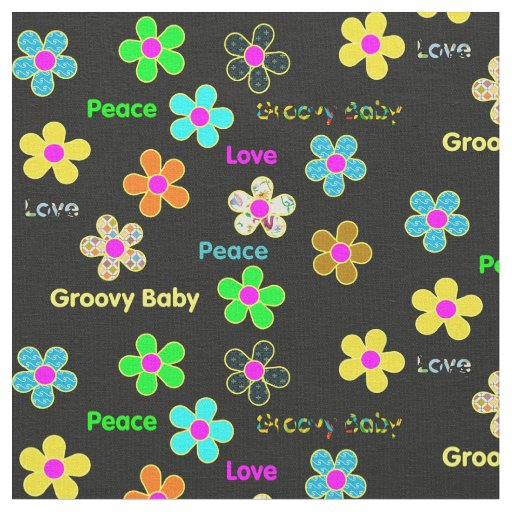 Black Psychedelic 60s Groovy Flowers Print Fabric