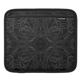 Black psychedelic pattern iPad sleeve