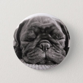 Black pug 6 cm round badge