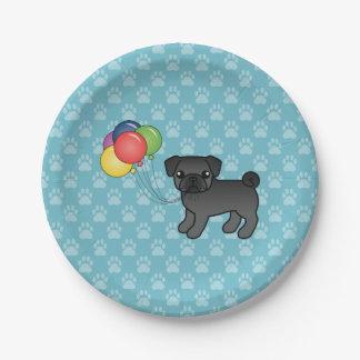 Black Pug Birthday Balloons Dog 7 Inch Paper Plate