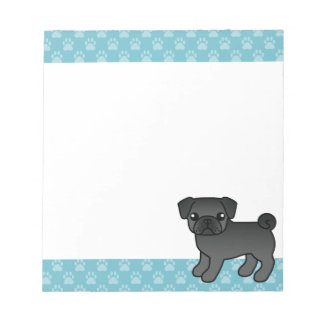 Black Pug Cartoon Dog With Blue Borders Notepad