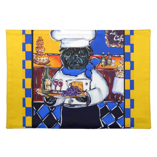 Black Pug Chef Place Mats
