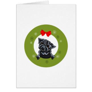 Black Pug Christmas Note Card
