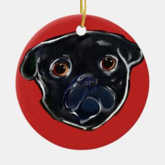 Black Pug Christmas Ornament