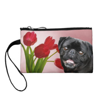 Black pug dog in tulips coin purse