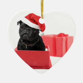 Black pug dog present or gift christmas ornament