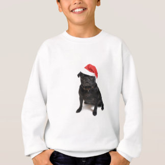Black pug dog with red santa hat sweatshirt