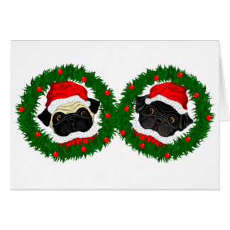Black Pug, Fawn Pug Santas Greeting Card