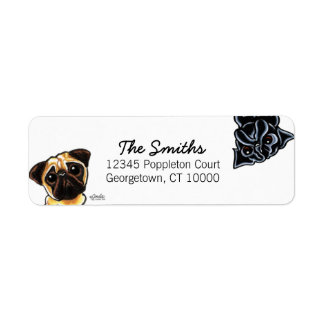 Black Pug Fawn Pug Up Down Custom Color Return Address Label