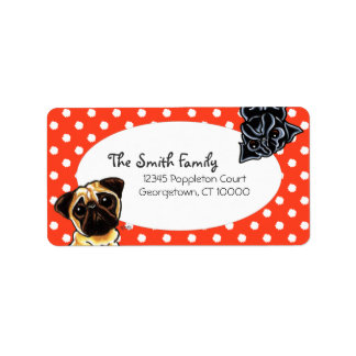 Black Pug Fawn Pug Up Down Red Dots Address Label