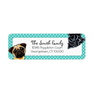 Black Pug Fawn Pug Up Down Teal Dots Return Address Label