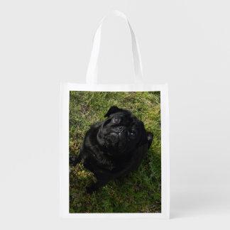 black-pug full.png reusable grocery bag