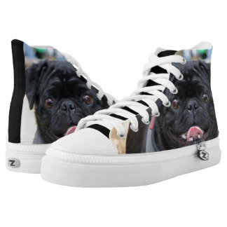 Black Pug  high top tennis shoes Printed Shoes