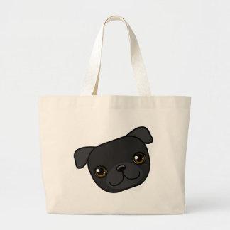Black Pug Jumbo Tote Bag