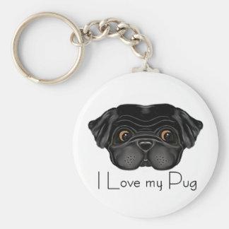 Black Pug Keychain