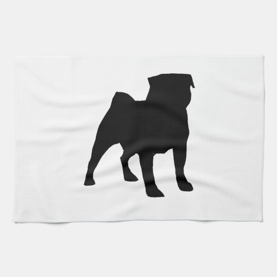 Black Pug Kitchen Towel