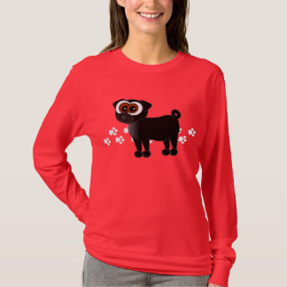 Black Pug Longsleeve T-Shirt - Red