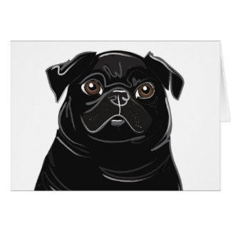 Black Pug Note Card
