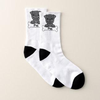 Black Pug On A Bone Socks