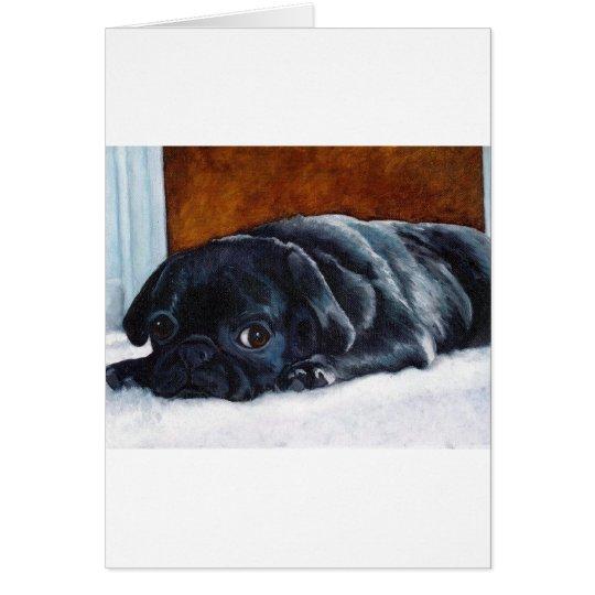 Black Pug Puppy Card