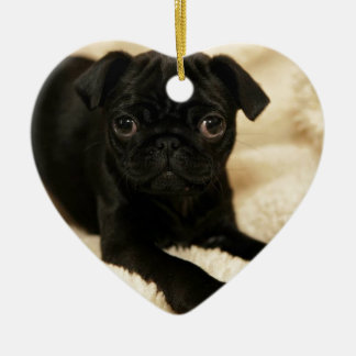 Black Pug Puppy Ceramic Heart Decoration