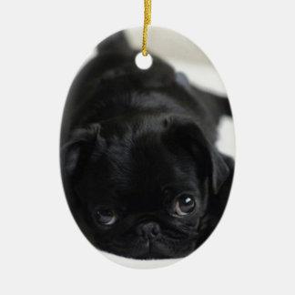 Black Pug Puppy Christmas Ornament
