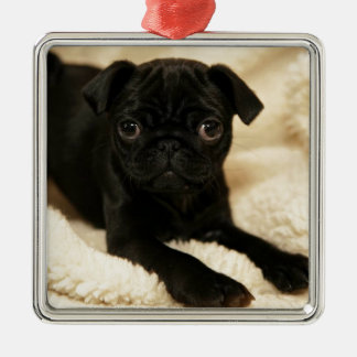 Black Pug Puppy Christmas Ornament